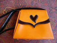 Vintage CHRISTIAN LACROIX Shoulder Purse Leather and Patent Leather Heart FRANCE