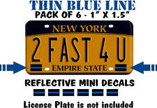 6 PACK THIN BLUE LINE License Plate Decals Stickers FOP Police PBA Trooper