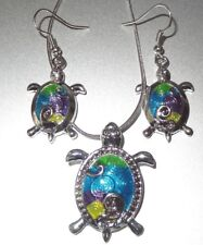 Sea Turtle  Pendant Necklace and Earring Set 18 Inches Snake Chain Fast Shipping
