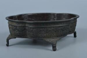 K3179: Japan XF Old Copper Cloud China crest sculpture WATER-BASIN Seimin made