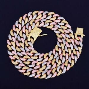 """Round Cut VVS1 Diamond Multicolor Tennis Chain 30""""inch 14k White Gold Over"""