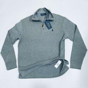 Ralph Lauren Men's Estate-Rib Quarter-Zip Pullover (Grey)  RRP £125