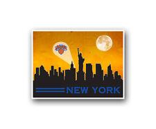 "New York Knicks Poster City Skyline Art Print Man Cave Decor 12x16"""
