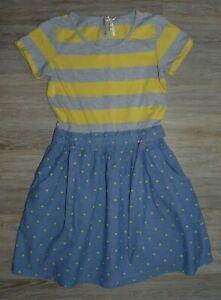 NEXT tolles Shirt-Jeans-Kleid,Streifen-Punkte,Gürtel Gr.152