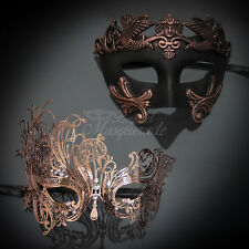 Couples Masquerade Mask, His & Hers Set, Rose Gold Masquerade Mask M31000, M7139