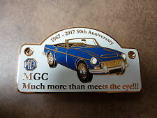MG MGC ROADSTER  50TH ANNIVERSARY ENAMEL CHROME GRILLE BADGE 1967-2017 NOS BLUE