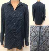Ex Fat Face Ladies Blue Casual Long Sleeve Shirt Blouse Size 6 - 16