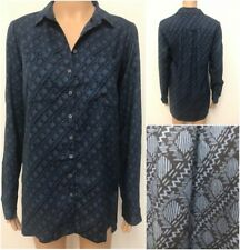 Ex Fat Face Ladies Navy Blue Long Sleeve Casual Shirt Blouse Size 6 - 16