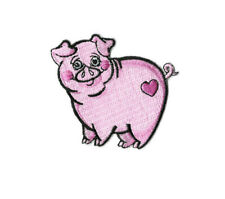 Pig - Farm Animal - Piglet - Pink - Heart - Embroidered Iron On Applique Patch