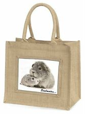 Silver Guinea Pigs 'Soulmates' Large Natural Jute Shopping Bag Chris, SOUL-86BLN
