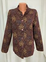 Coldwater Creek Tapestry Jacket button floral long sleeve rayon polyester large