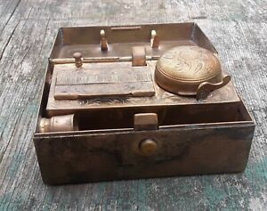 Travelling Brass Glass Inkwell With Candlestand