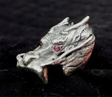 Sterling Silver Biker/Gothic dragon ring W/Ruby eyes