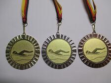 Schwimmen Pokal Kids Medaillen 70mm 3er Set mit Band/&Emblem Pokale Turnier e107