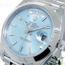 UNWORN ROLEX DAY-DATE 228206 PRESIDENTIAL 40 mm PLATINUM ICE BLUE DIAGONAL