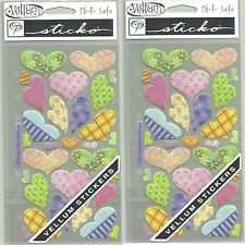 2 New packs Vellum Pastel Hearts Sticko Scrapbook Stickers Love Patterned