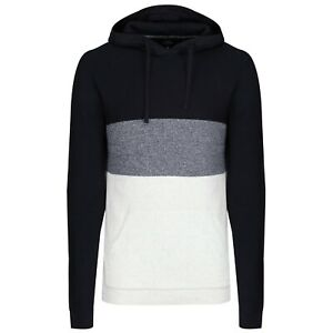 NEXT™ Mens Long Sleeve Hooded Jumper New Colour Block Panel Hoodie Top & Pockets