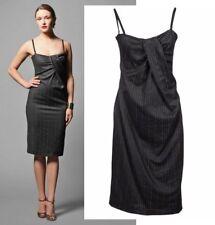 $645 D&G DOLCE & GABBANA DRESS TWIST-FRONT STRIPED WOOL BLEND sz IT 44 US 8
