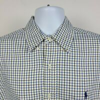 Ralph Lauren Classic Fit Black Blue Check Mens Dress Button Shirt Size Medium M