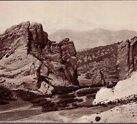 Colorado Springs ca. 1898 Pikes Peak Garden of the Gods Hoods Cure Ad Photo Card