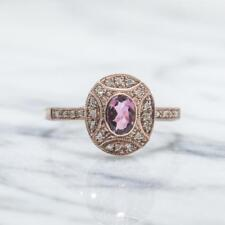 Genuine .84ctw Pink Sapphire & Diamond 14K Rose Gold 925 Sterling Ring Size 8