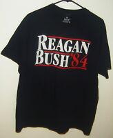 REAGAN BUSH '84 RONALD GEORGE ELECTION CAMPAIGN BLUE T-SHIRT SIZE XL 1984 USA