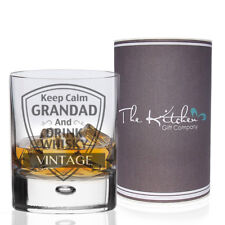 Personalised For Grandad Keep Calm Whisky Glass Birthday Xmas Whiskey Gift Boxed