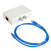 2 Port Network Sharing Switch Box 100Mbps + 5FT CAT 6 RJ45 LAN Ethernet Cable
