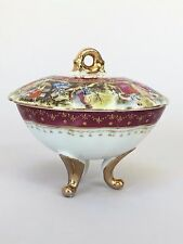 Royal Vienna Style Burgundy/Pink & Gold Trinket/Jewelry Dish Courting Scene