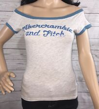 Abercrombie & Fitch T-Shirt Medium Sexy Off Shoulder Ringer Style Gray Blue
