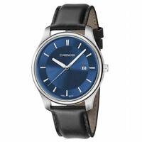 Wenger Men's Watch City Classic Quartz Blue Dial Black Leather Strap 01.1441.118
