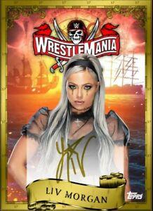2021 Topps WWE Slam Liv Morgan WrestleMania GOLD Motion Signature Iconic