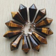 Natural tiger eye stone Hexagonal pyramid Charms pendants 12pcs/lot Wholesale
