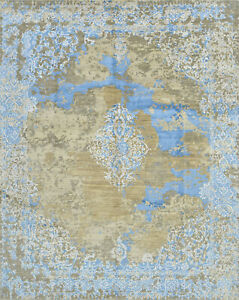 Modern Erased Orient Rug, 8'x10', Brown/Blue, Hand-Knotted Wool/Bamboo Silk