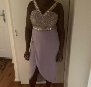 Virgos Lounge Julisa Jaune Princesse Embelli Wrap Midi robe de soirée 10 To 20