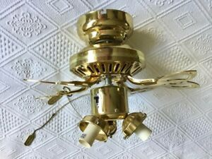 "Encon 42"" Brass 3 speed Ceiling Fan & Light in excellent condition"