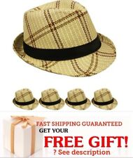 Men Women Unisex Fedora Hat Trilby Cuban Style Short Brim Cap Panama BEIGE BLACK