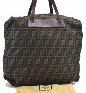 Authentic FENDI Zucca Tote Bag Nylon Brown D4839