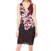 Jax Black Label NWT Womens Dress Black Burgundy Floral Print Lace Sheath Size 4