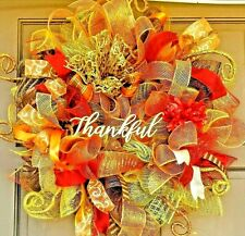 Fall Welcome Wreath Gold Deco Mesh Door Decor Metallic Autumn Colors & Accents
