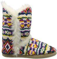 Ladies Slippers Womens Dunlop Boots Ankle Fairisle Winter Warm Fur Boots UK 7-8