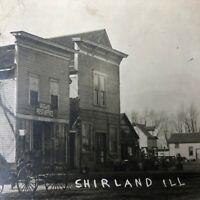 Antique RPPC Post Office General Store Vintage Postcard Shirland Illinois IL ILL