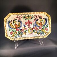 VINTAGE HIGH MOUNT MADE IN JAPAN ART POTTERY TRAY HAND-PAINTED BIRDS FLORAL