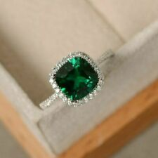 2Ct Cushion Cut Green Emerald Halo Engagement Ring Solid 14K White Gold Finish
