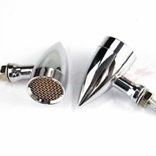 Motorcycle Chrome Bullet Blinker Turn Signal Light Bobber Chopper Cruiser Amber