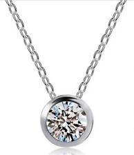 "925 Sterling Silver Solitaire Bezel Set 7-1/2mm CZ Pendant with 18"" chain"