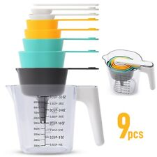 9 Piece Measuring Cups and Spoons Set, Stackable Kitchen Measurement Tools,