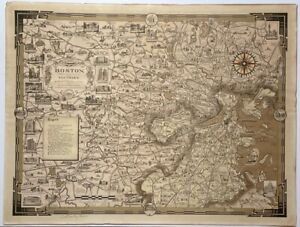 Original 1938 Ernest Dudley Chase BOSTON & Vicinity PICTORIAL MAP -PENCIL SIGNED