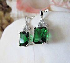 Gorgeous New 5.5 Carat Emerald Green Zircon Earrings~Sterling Silver~W/Gift Bag