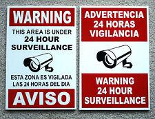 2 Security Video Surveillance Warning  24 Hr Coroplast  Signs  Spanish English